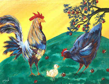 CHICKEN FAMILY PAINTING by Connie Wallace