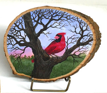 CARDINAL - RED BIRD on Wood Slice by Martha Winenger