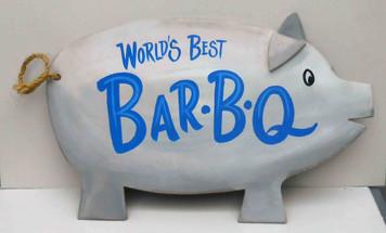 World's Best BAR-B-Q - Pig Sign - Plaque