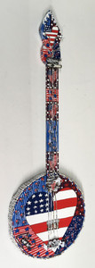 RED, WHITE & BLUE PATRIOTIC BANJO by Deane Bowers - Was $225 - Now $150