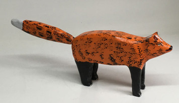 """CARVED RED FOX - 16"""" Long - by Jim Lewis"""