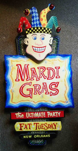 New Orleans MARDI GRAS JESTER HAT - COLORFUL WALL PLAQUE