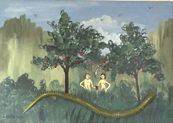 ADAM & EVE with SNAKE  in PARADISE