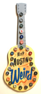 KEEP AUSTIN WEIRD - WOOD GUITAR CUT OUT