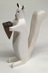 RARE WHITE SQUIRREL  - Carving by Jim Lewis