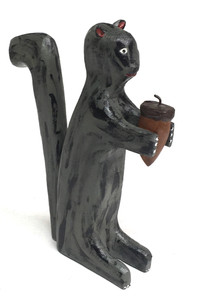GREY SQUIRREL CARVING by Jim Lewis