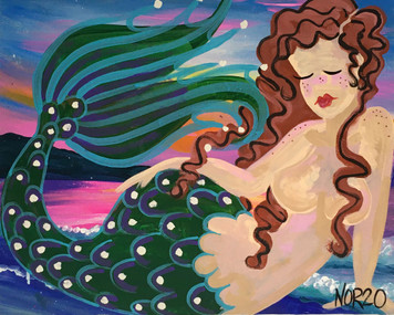 Mermaid #1 - Canvas Painting  - by Nina O'Reilly