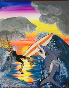 GIRL SURFER & SHARK by Nina O'Oriela