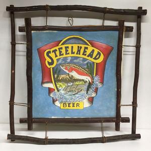 Rustic STEELHEAD BEER Sign - with twig frame