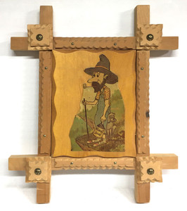 TRAMP ART FRAME w/ HILLBILLY (1970's) Geo G Borum