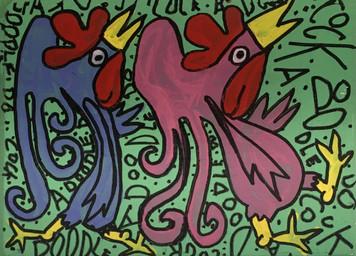 PINK & BLUE PARTY BIRDS  - by Kip Ramey