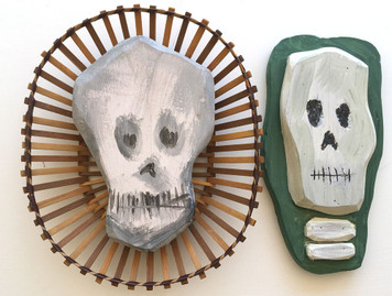 TWO SKULLS - One in a wooden Basket - Wire Hanger