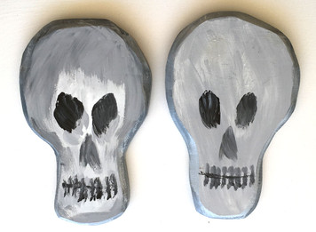 """TWO 12"""" SKULLS - 1"""" Thick - Dated 2005"""