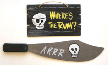 PIRATE RUM SIGN & Wood Cutlass w/ Skull