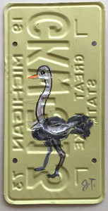 OSTRICH License Plate by John Taylor