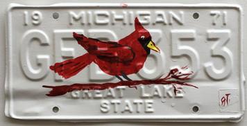 CARDINAL - RED BIRD License Plate by John Taylor