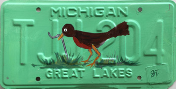ROBIN Pulling Worm License Plate by JohnTaylor