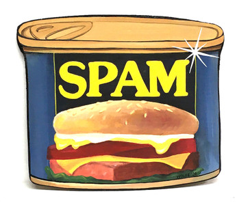 SPAM - CUT-OUT WOOD - WALL HANGER by Heidi Wolfe