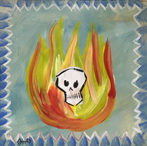 SKULL in FLAMES - RAW ART BRUT by OTTO