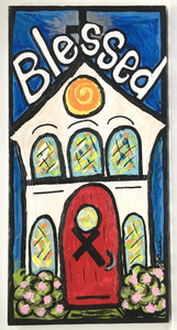 """""""BLESSED"""" CHURCH w/ Cross by LeAnne Smith"""