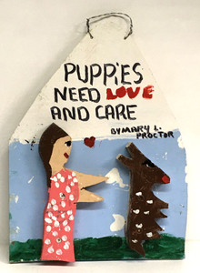 PUPPY LADY & DOG HOUSE -C- by Mary Proctor