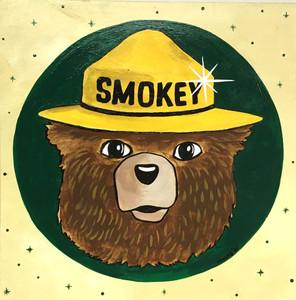 """SMOKEY BEAR - 12"""" x 12"""" - by Heidi Wolfe"""