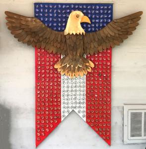 EAGLE - Wood Construction w/ Bottle Cap Flag
