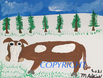 BROWN COW PAINTING by Minnie Adkins
