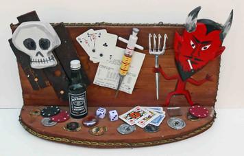 The DEVIL'S EVIL WAYS - Gambling Alcohol Drugs  - 3-D Diorama