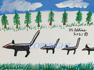 SKUNK FAMILY PAINT#13 - by Minnie Adkins