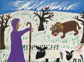 SHEPHERD and SHEEP PAINTING #5 Minnie Adkins