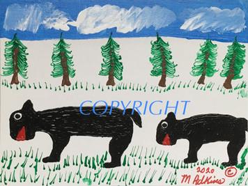 TWO BLACK BEARS PAINTING bu Minnie Adkins - #6