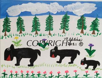 THREE BEAR FAMILY #9 PAINTING BY Minnie Adkins