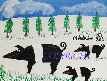 PIG FAMILY PAINTING #10 BY MINNIE ADKINS