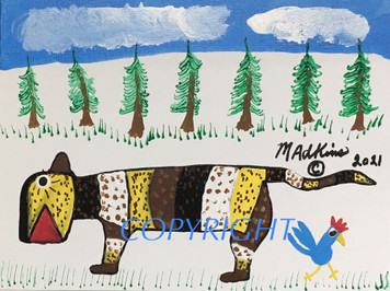 COLORFUL TIGER & BLUE ROOSTER #17 PAINTING By Minnie Adkins