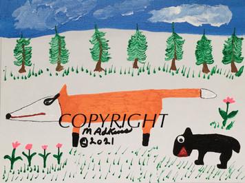 RED FOX & BLACK BEAR - Painting #14 by Minnie Adkins
