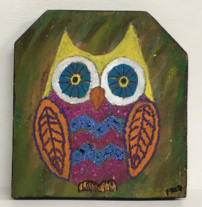 """MULTI-COLOR OWL (3/4"""" wood) by Billy Fred Hellams"""