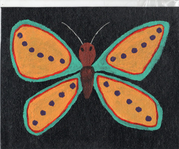 BUTTERFLY - Paint on  TAR PAPER by Billy Fred Hellams