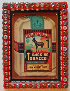 RARE!! ORPHAN BOY SMOKING TOBACCO SIGN -  frame trimmed with Bottle Caps