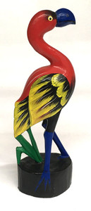 """COLORFUL FLAMINGO WOOD CARVING - 12-1/2"""" TALL"""