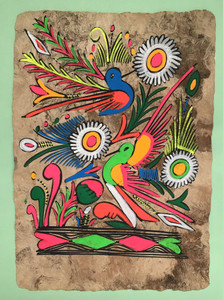 """TWO COLORFUL BIRDS on CORK PAPER - 8.5"""" x 12"""""""