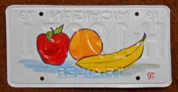 Apple Orange Banana License Plate by John Taylor