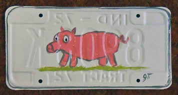 Pink Pig License Plate by John Taylor