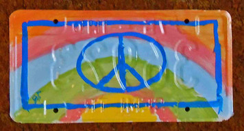 Peace Rainbow License Plate - by John Taylor
