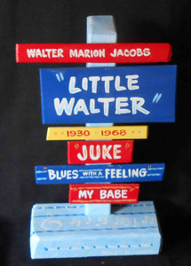 Little Walter Jacobs Harmonica Signpost by George Borum