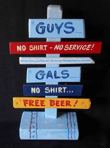 No Shirt - Free Beer Signpost