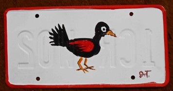 Red Wing Blackbird License Plate by John Taylor