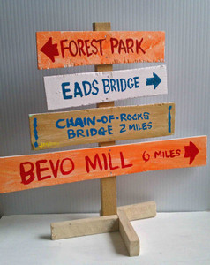 St Louis Direction Sign -  Forest Park, Eads Bridge, Bevo Mill by Jaybird