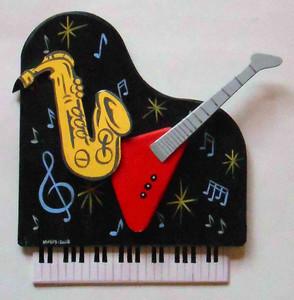 Piano - Sax - Guitar - Wall Plaque by George Borum