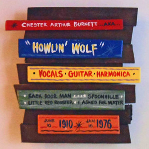 Howling Wolf Blue Wall Plaque by George Borum